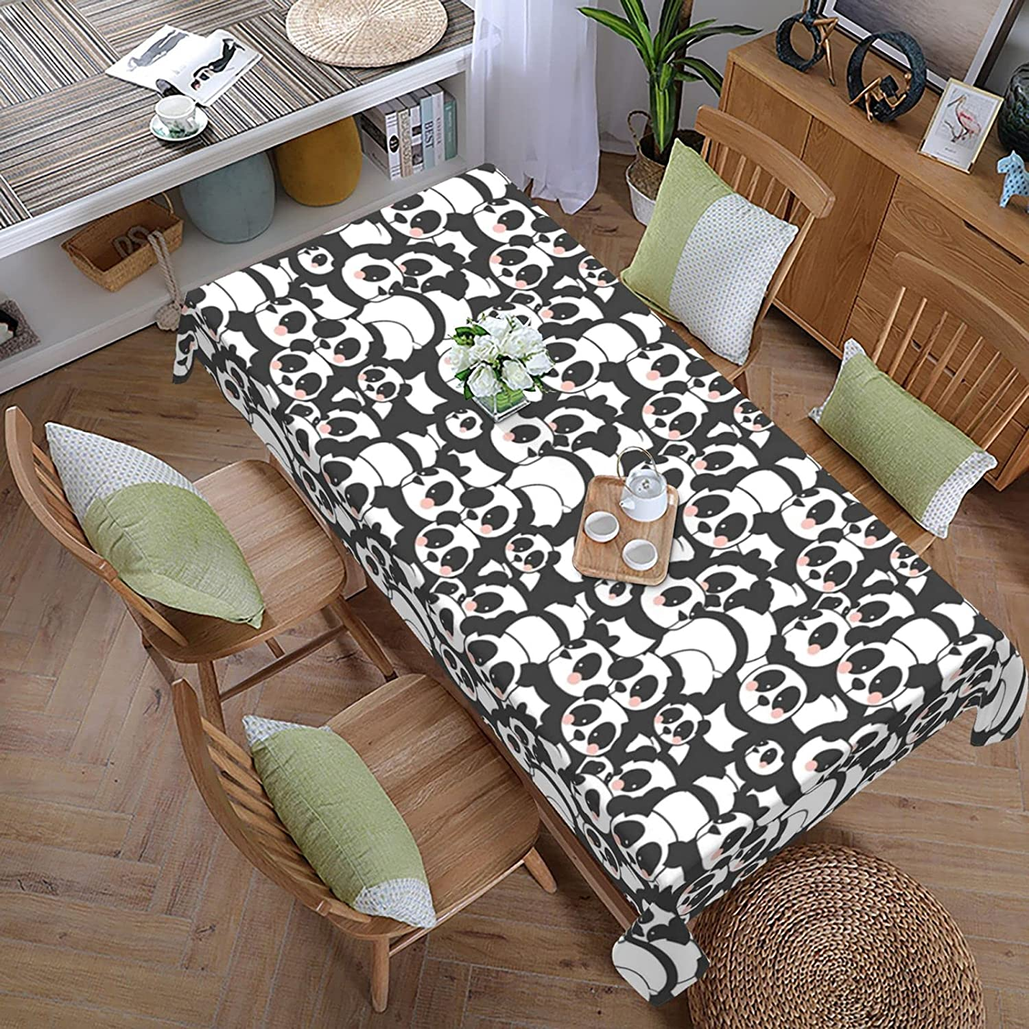 Panda Tablecloth-108x60 in Polyester Cloth Ranking TOP10 Table Washable El Paso Mall