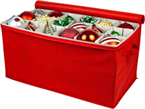 """Christmas Ornament Storage – Holiday Organizer Stores up to 54 Christmas Tree Ornaments – 25"""" x 13"""" x 11"""" - Durable Non-Woven Polypropylene, Adjustable Dividers to Fit All Your Ornaments"""