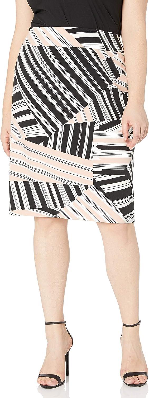 NINE WEST Women's Plus Size Multi Stripe Skirt