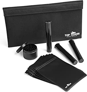 """Top Class Ventures Smell Proof Bag with Accessories – 11""""x6"""" Smellproof Pouch, Grinder, 5 Resealable Bags, and 3 J-Tubes – Odorless Storage Case – Waterproof Airtight No Odor Container – Black"""