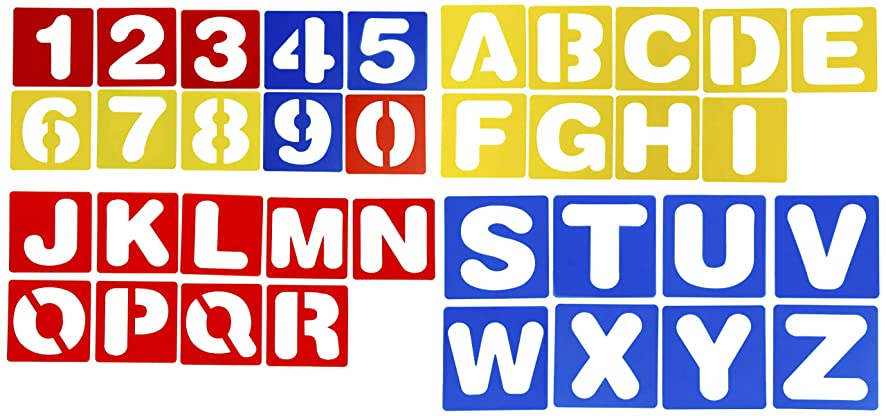 Letter Stencils - 36-Pack Plastic Alphabet Number Stencil Templates, Hollow Out Drawing Templates for Craft Projects, Scrapbooking, Cards, Journaling, Painting Learning, 3.94 x 3.94 Inches