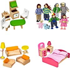 Dragon Drew Dollhouse Furniture Set - Wooden - Living Room, Bedroom and Kitchen Accessories, Family Members, Pet – 100% Na...