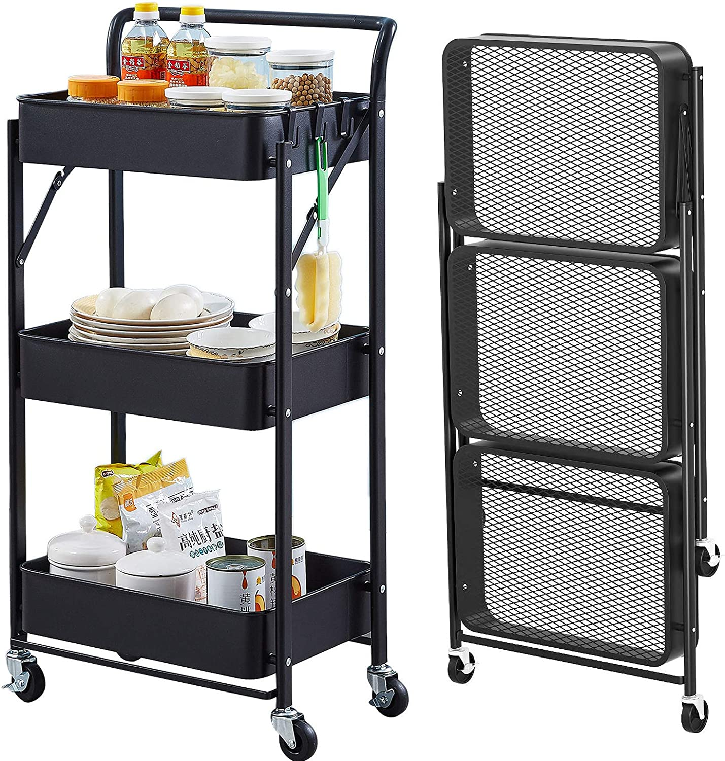 asunflower 3 Tier Foldable Storage Max 56% OFF Util Wheels Cart New Free Shipping with Folding