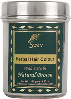 SVATV :: Henna Hair Color/Dye With 9 herbs - 120 Grams - Henna for Hair, Natural Hair Color - Chemical Free Hair Color (Br...