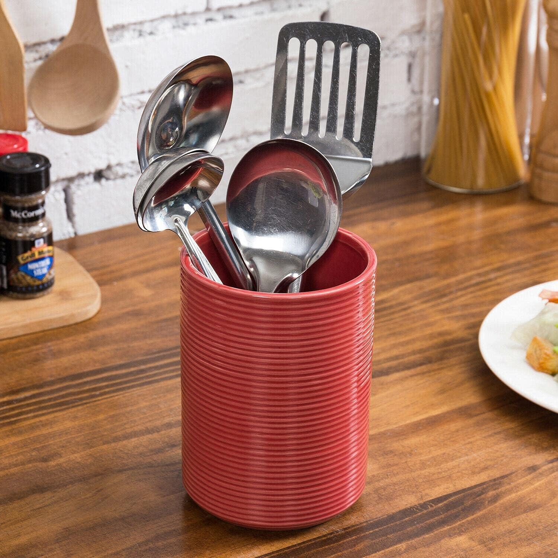 Glazed Red Ribbed Cylinder Ceramic Utensil 5% OFF New color Kitchen Crock Holder