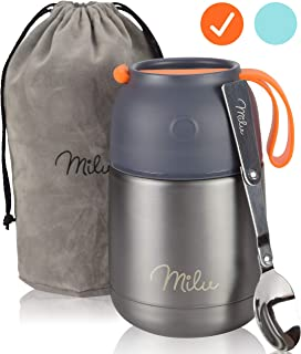 Milu Thermos Food Jar with Folding Spoon 15,2 oz / 22 oz Double Wall Insulated Stainless Steel Food Containers Wide Mouth ...