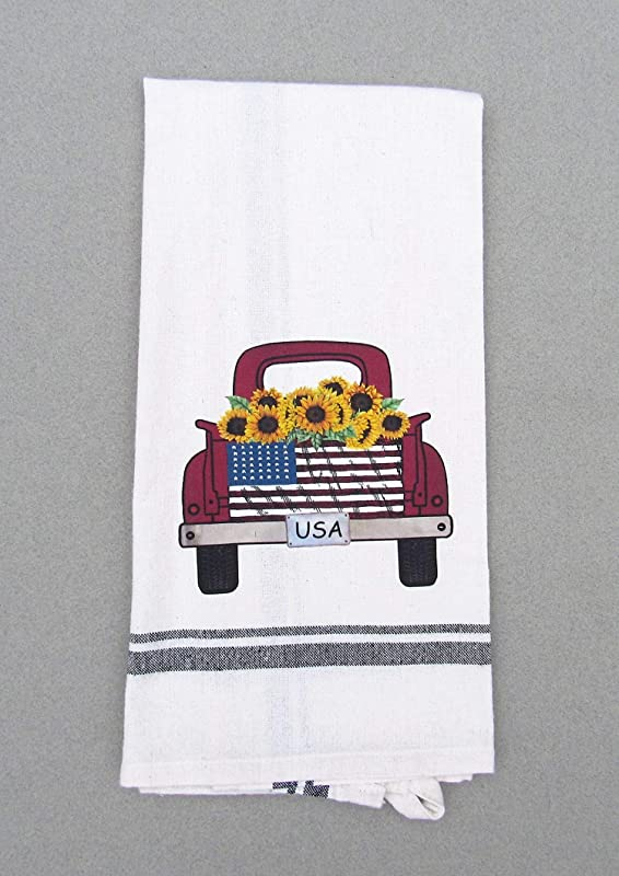 Red Truck With American Flag And Sunflowers Print Kitchen Bath Hand Towel