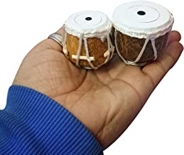 100% Pure Indian Handmade Miniature Musical Instruments Tabla Set (Decorative Showpiece Gift/Does Not Play Sound) Each Tabla Size:- H-4 x L-0 x W-3 (Cms)