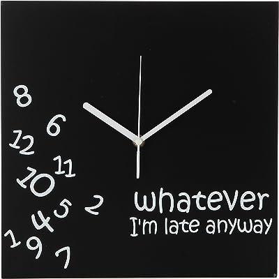 Amazon Com Modern Black Clock Blackout White Square Clock Minimalist Metal Wall Clocks Contemporary Decor 16in Black W White Hands Home Kitchen