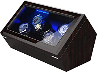 High End Watch Winder for Rolex with Soft Flexible Watch Pillows, Blue Led Light, Open and Shut Down Featured, Pine Bark P...