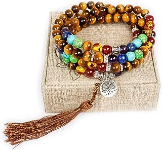 Mala Beads 108 Necklace Meditation Prayer Bead Tree of Life Chakra Stones Tibetan Bracelet