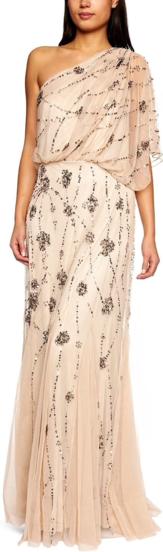 Adrianna Papell Women's One Shoulder Beaded Blouson Dress