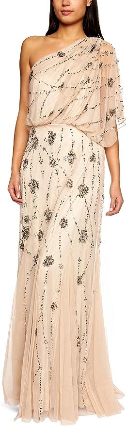 70s Sequin Dresses, Disco Dresses Adrianna Papell Womens One Shoulder Beaded Blouson Dress  AT vintagedancer.com