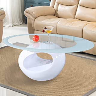 Mecor Glass Coffee Table with Round Hollow Shelf-Modern Oval Design End Side Coffee Table with Tempered Clear Glass Top Gloss White-Living Room Furniture