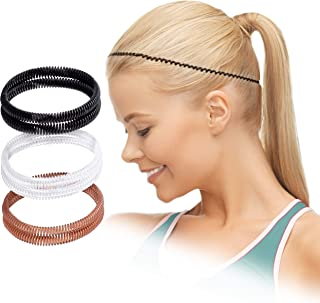 CECEjoy Non-Slip Headbands for Women, Men, and Kids, No Crease Spiral Sport Hair Band, Set of 6 Stretchy Coil Workout Headbands, Wave Headband, Black, Brown, Clear and Two Bonus Transparent Hair Coils