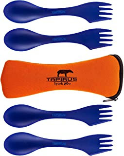 Tapirus 4 Blue Spork to Go Set - Durable and BPA Free Tritan Sporks - Spoon, Fork and Knife Combo Utensils Flatware - Mess Kit for Camping, Hunting and Outdoor Activities - Comes in a Carrying Case