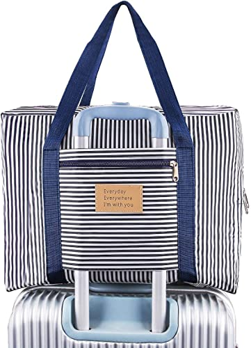 Weltime Travel Bags Lightweight Foldable Waterproof Shoulder Handbag Lightweight Clothes Organizer Storage for Luggage Travel Luggage Carry on Clothes Storage Duffle Bag Organizer Blue