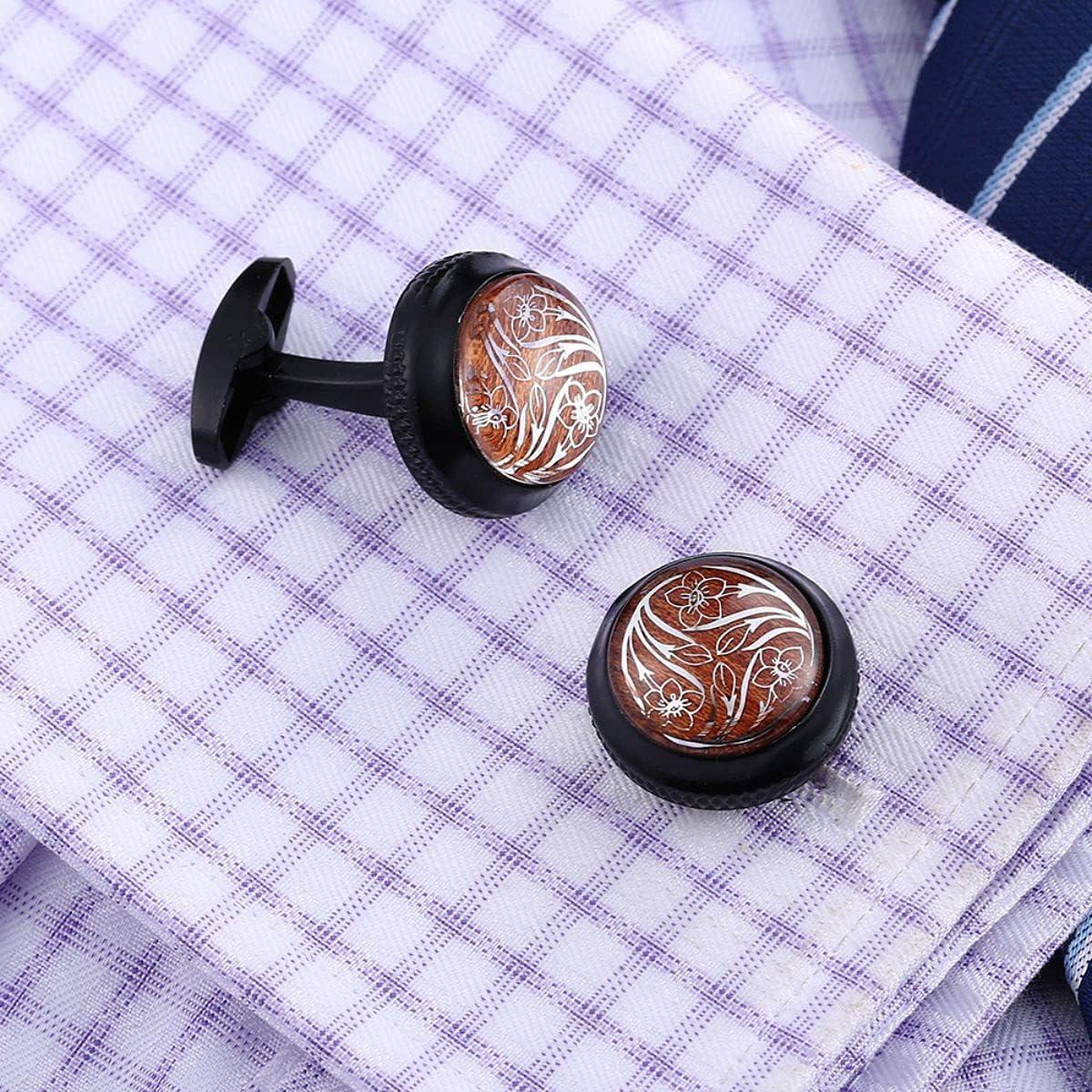 BO LAI DE Mens Cufflinks Black Wood Pattern Round Cuff Links Shirt Cufflinks Suitable for Wedding Business Luxury Tuxedo Formal Shirts, with Gift Box