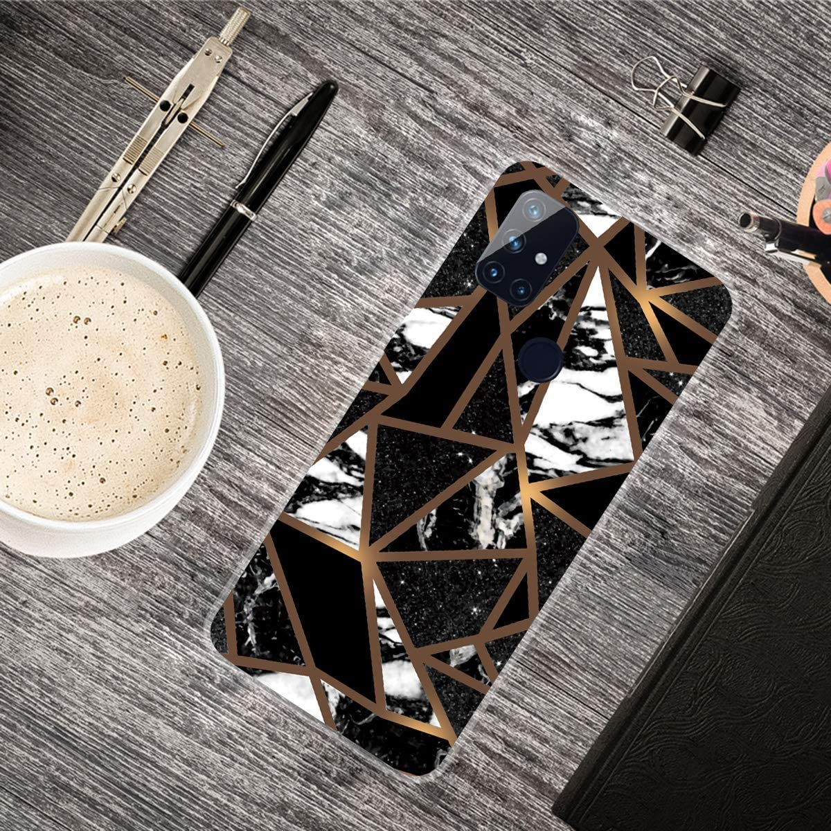 JMTALL for OnePlus Nord 100 5G Shockproof Silicone Phone Case Marble Design Clear Cover Geometric Yellow Black Pattern Rubber Bumper TPU Soft Protective Case for OnePlus Nord 100 5G