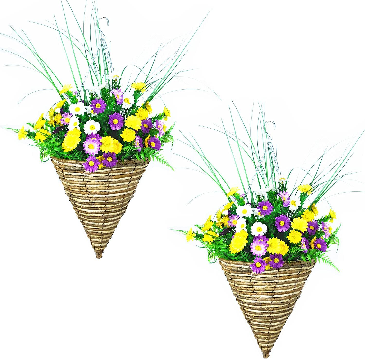Import Artificial Flowers Max 70% OFF Hanging Planter Door Out Wild Mixed