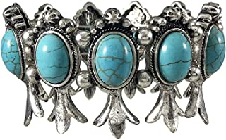 Wonderent Elegant Turquoise Squash Blossom Detailed Metal Stretch Bracelet