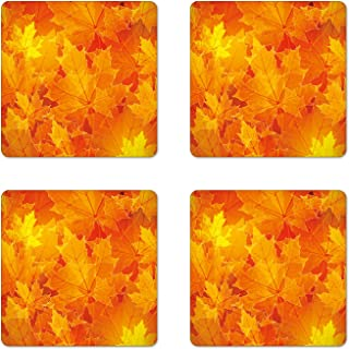 Ambesonne Fall Coaster Set of 4, Seasonal Maple Tree Leaves Botanical Foliage Vibrant Floral Forest Texture Image, Square Hardboard Gloss Coasters for Drinks, Standard Size, Yellow Orange