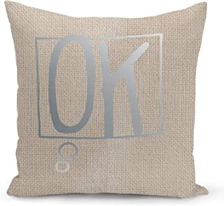 Ok Beige Linen Pillow with Metalic Silver Foil Print Speech Bubble Couch Pillows