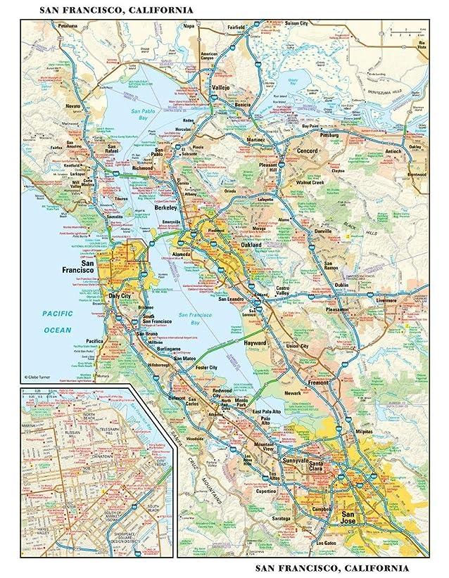 代数的聖人機関サンフランシスコ、カリフォルニア壁マップ?–?11.5?X 14.5インチ?–?紙?–?フラットTubed