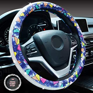 Crystal Diamond Steering Wheel Cover, PU Leather with Shiny Bling Bling Rhinestones, Universal 15inch / 38cm for Women Girls (Blue Geometric)
