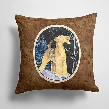 Caroline's Treasures SS8361PW1414 Starry Night Airedale Decorative Canvas Fabric Pillow, 14Hx14W, Multicolor