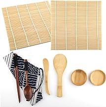 9 قطع من أدوات صنع السوشي بما في ذلك حصيرتي السوشي، 2 طبق صلصان، 2 مجرفة أرز و 1 ملعقة مسطحة، 1 كيس قماشية، 1 زوج من عيدان...