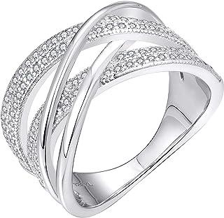 YL ملتوية عقدة خواتم 925 الفضة الاسترليني كريس عقدة خاتم 18 كيلو ذهب أبيض مطلي زركونيا إنفينيتي بيان خواتم للنساء
