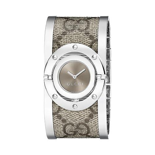 f10b15f884d Gucci Twirl Stainless Steel Bangle with Fabric Band Women s Watch (Model YA112425)