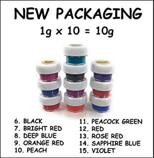 ThermoChromic Temperature Activated Pigment that changes at 88⁰F (31 ⁰C) - Great for making color-changing slime, Paint, Nail Polish, Fabric Art and More (10 x 1g Samples, Mixed Colors)