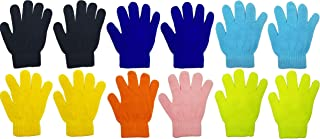 12 Pairs Winter Magic Gloves for Kids Toddlers, Stretchy Warm Bulk Pack Boys Girls Children