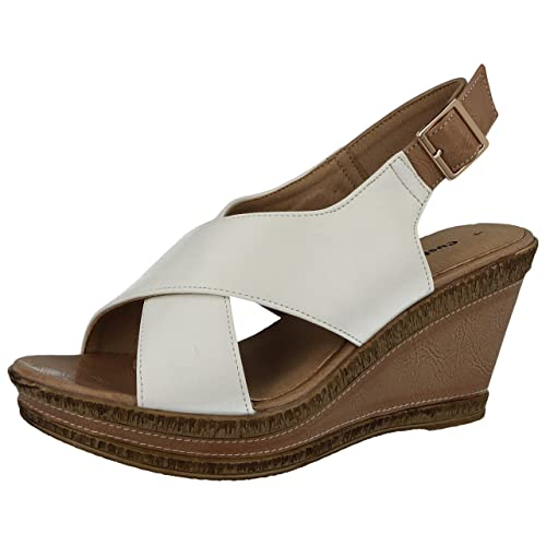 f03a06247 Ladies Cushion Walk Wide E Fit Leather Lined Wedge Peep Toe Strappy Summer  Sandal Size 3