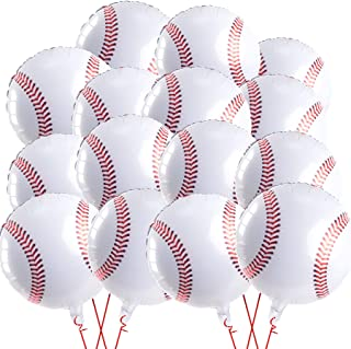 15 Pieces Baseball Balloons 18 Inches Baseball Sports Foil Mylar Balloon Jumbo Balloons for Baseball Theme Party Baseball ...