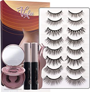 Magnetic Eyelashes With Magnetic Eyeliner Kit, Upgrades 3D Magnetic Eyelashes with Portable Mirror Box, 10 Pairs 2 Bottles of Eyeliner Reusable, Cuttable, Strong Magnetism, Waterproof Sweat-Proof, Smudged Free, Natural Glamorous Looking For All Occasions, Vafee