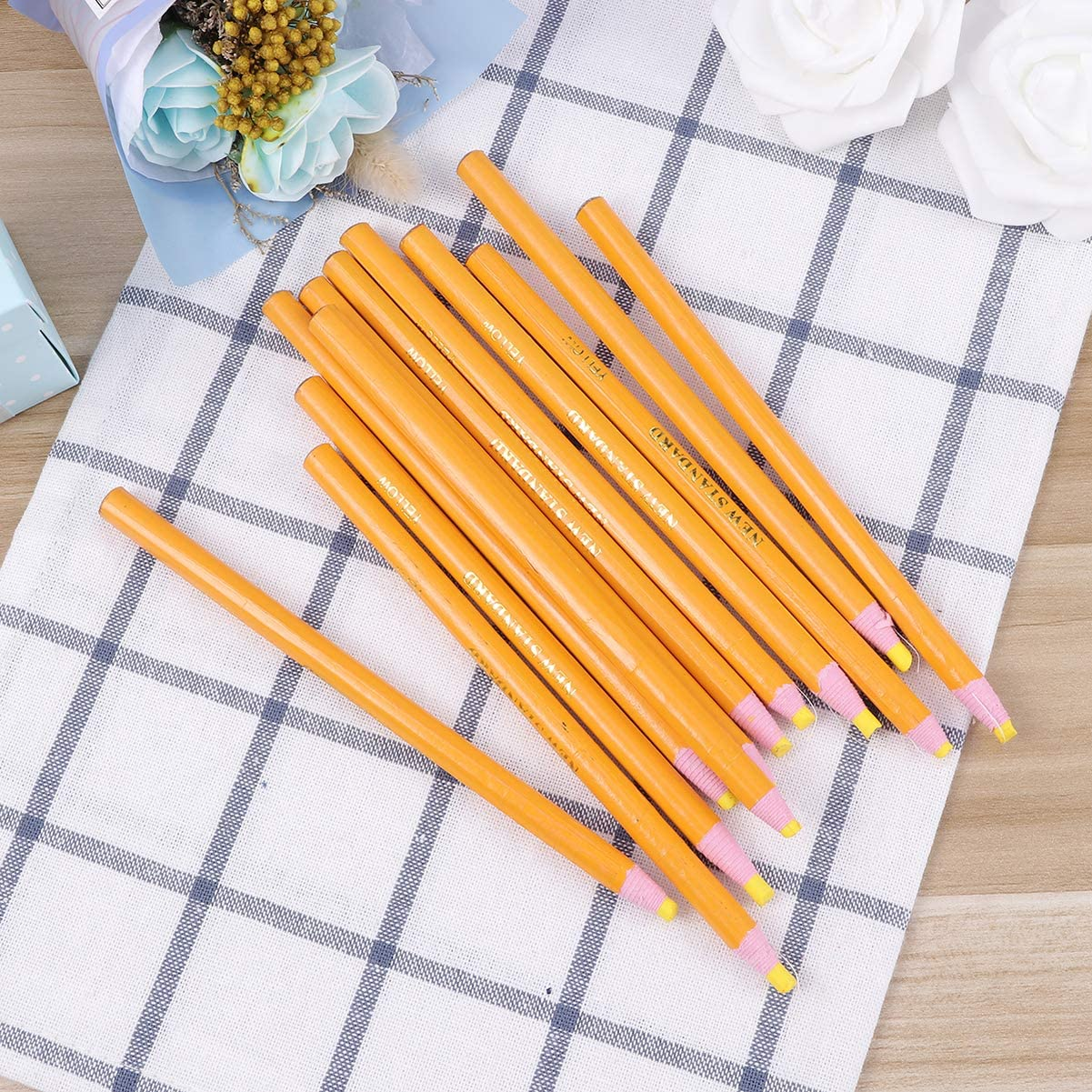 Toyvian Peel off China Marker Wax Pen Grease Pencil for Metal Cloth Wood Leather Paper Glass 12PCS Yellow