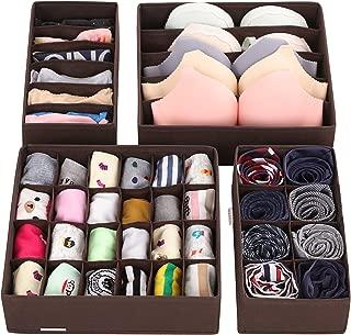 SONGMICS Closet Underwear Organizer Drawer Divider for Bras Panties Socks Ties, Set of 4,..