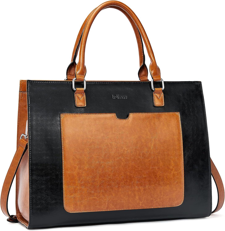 BROMEN Womens Briefcase Leather 15.6 inch Laptop Shoulder Bag Business Tote Handbag