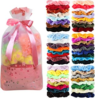 50 Pcs Velvet Hair Scrunchies Assorted Color Elastics Hair Bands Hair Ties Hair Accessories for Women or Girls …