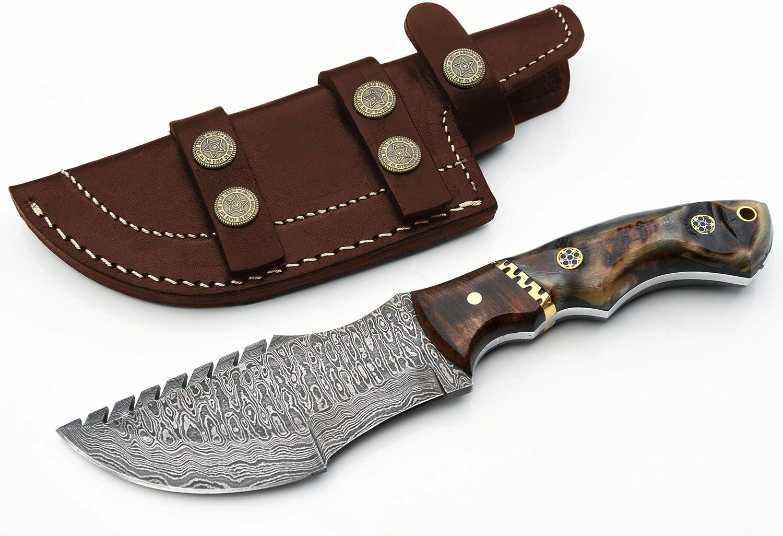 Whole Earth 2020A/W新作送料無料 Supply Ram Horn Damascus Knife 奉呈 Hunti Tracker Ladder
