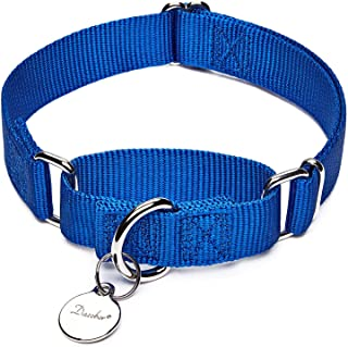 Dazzber July 2019 Design, Solid Color Nylon Dog Collar No Pull, Strong and Durable, Correction and Training Martingale Collars for Small to Large Dogs,Easy to Control