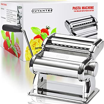 Nuvantee Pasta Maker Pasta Machine - 150 Roller with Pasta Cutter - 7 Adjustable Thickness Settings