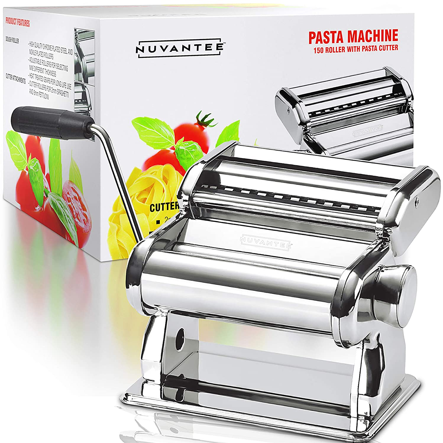 Nuvantee Pasta Maker - Highest Quality Pasta Machine - 150 Roller with Pasta Cutter - 7 Adjustable Thickness Settings