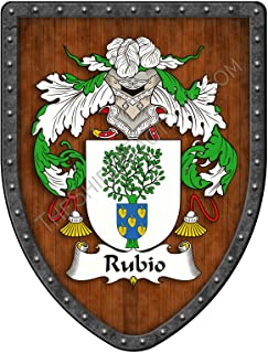 Rubio Family Crest Custom Coat of Arms, Family Ancestry and Heritage Hanging Metal Wall Plaque Shield - Hand Made in the USA