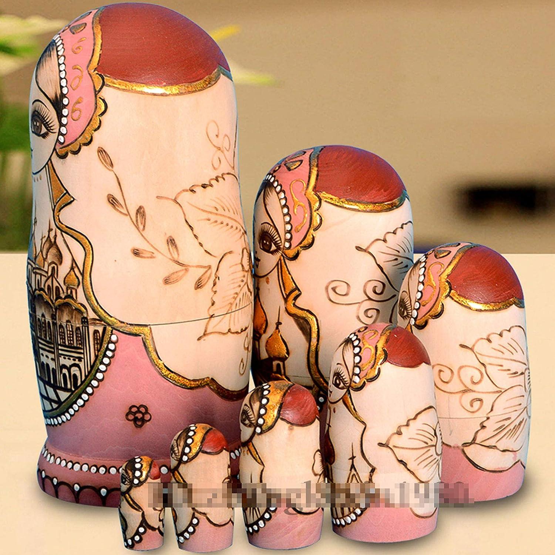 Mr.LQ 7 Pz//Set Bambole Russe in Legno Bambole Nidificanti Bambola dei Desideri della Fanciulla Bella Bambola Matrioska Fatta a Mano Collezione di Regali Giocattolo per Bambini