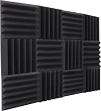 """NRG Acoustic Double Thick Studio Acoustic Wedge Foam Panels 12 Pack of 12""""x12""""x2"""" (Charcoal)"""