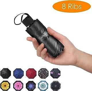 Prodigen Travel Mini Umbrella Windproof UV Folding Compact Umbrella Portable Lightweight Sun & Rain Umbrellas for Women and Men